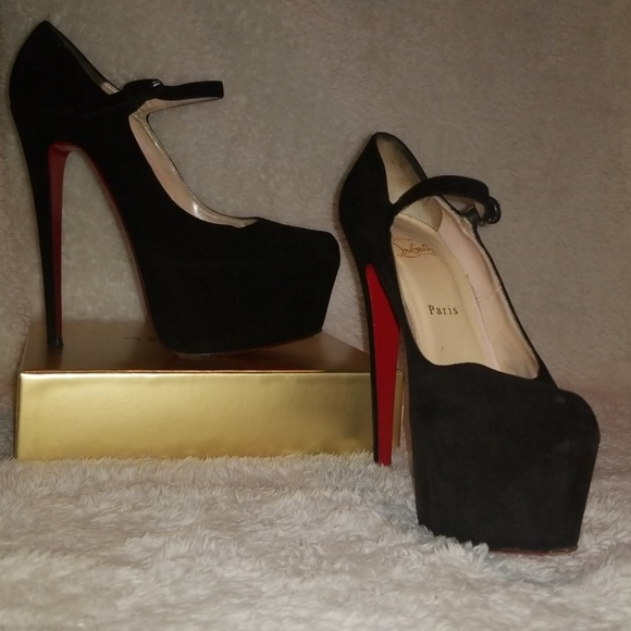 christian louboutin lady daf suede mary jane platform pumps